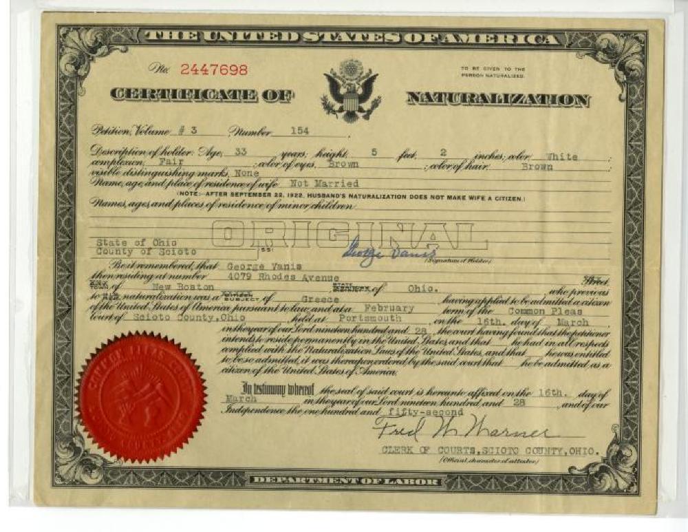 Certificate, Citizenship