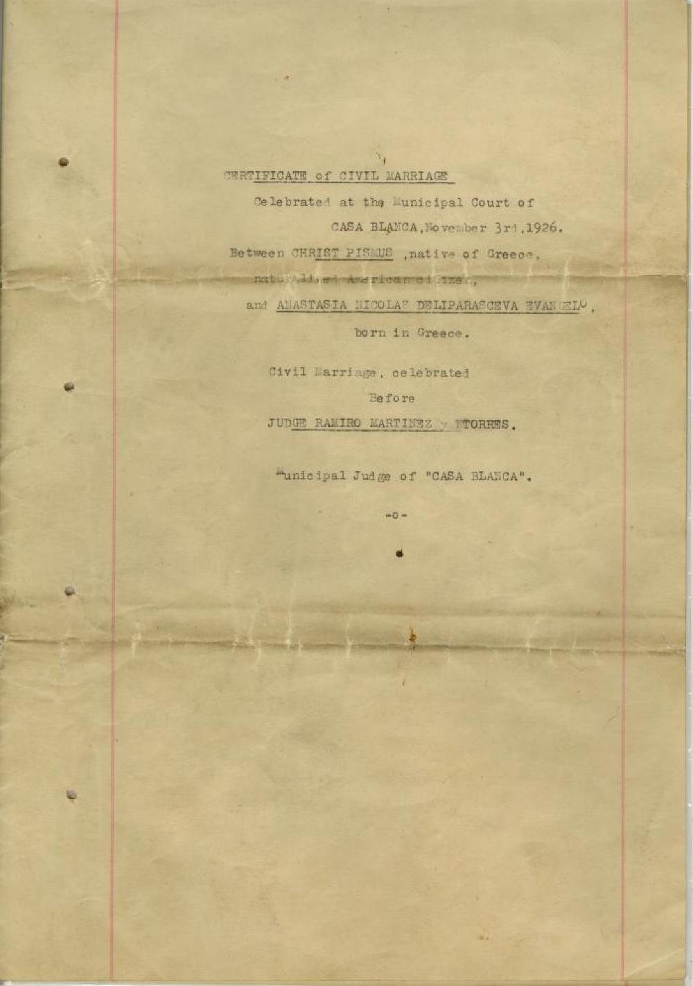 Certificate, Marriage